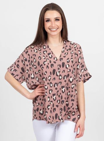 Keep Up Mauve Leopard Top