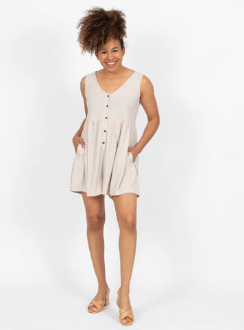 Cute As A Button Oatmeal Romper