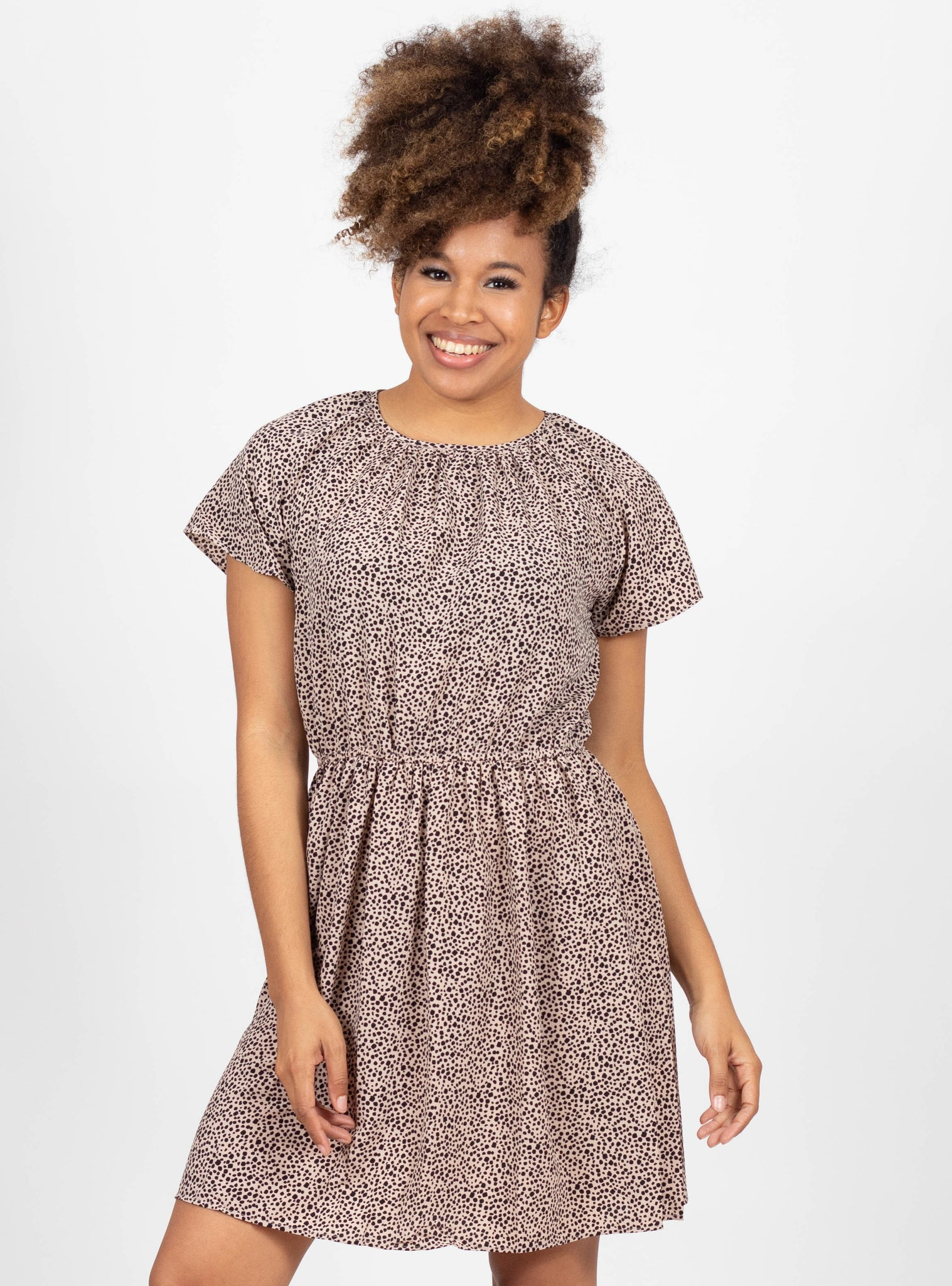 On the Dot Taupe Dress
