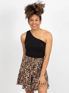 Cat Fight Taupe Leopard Skirt