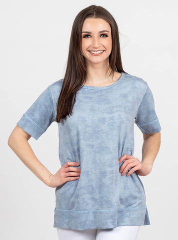 Love Deeply Blue Washed Top