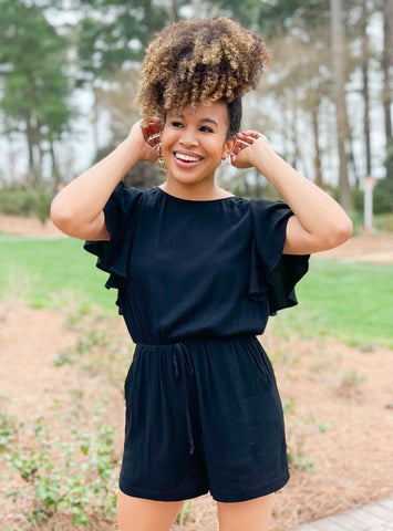 It Girl Black Ruffle Romper