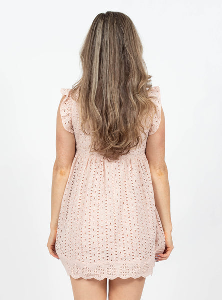 Natural Attraction Taupe Eyelet Dress