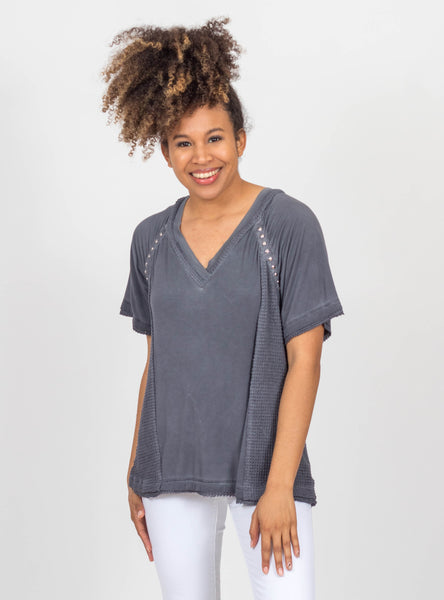 Remember Me Charcoal Waffle Top