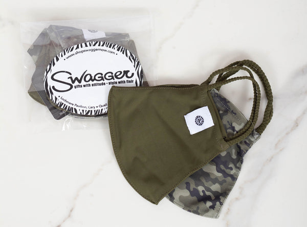 Camo/Olive Facemask-Set of 2