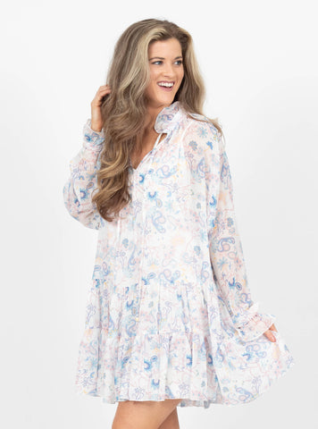 Whimsical Journey White Paisley Dress