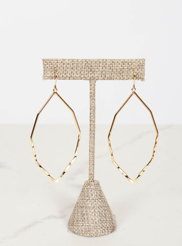 Gold Octagon Dangle Earrings