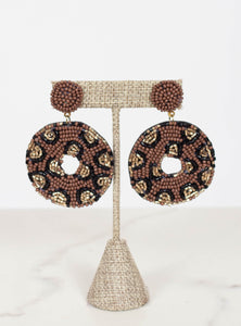 Circle Leopard Bead Earring