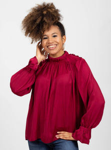 Merry and Bright Burgundy Top