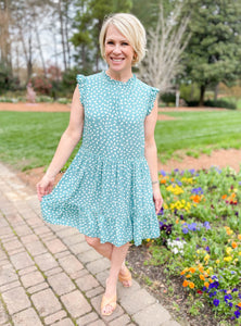 Scattered Diamonds Mint Spotted Dress
