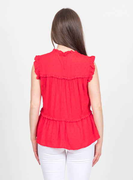 Flaunt It Red Dotted Top