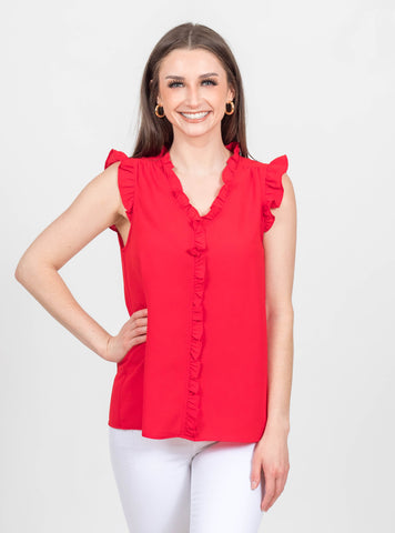 Vibrant Love Red Detail Top