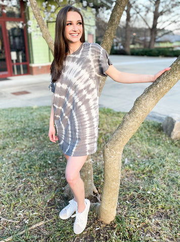Solitude Charcoal Tie Dye Dress