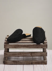 The Swirl Mules - Black Suede
