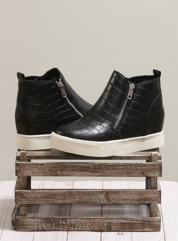The Taylor Sneaker - Black Croc
