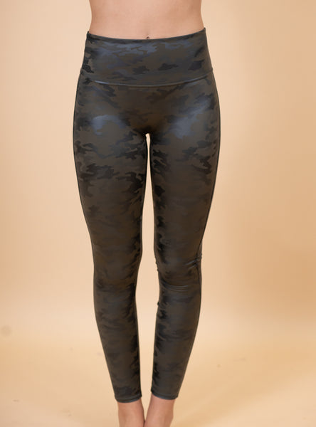 The Leather Camo Spanx Leggings- Green