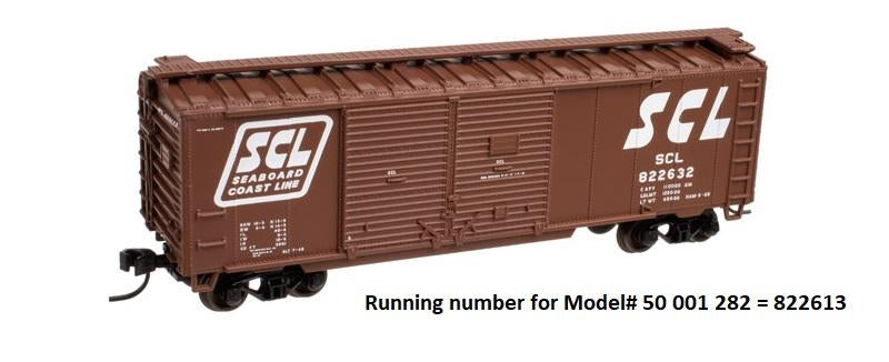 Atlas 50 001 282 N 40' Steel Double Door Box Car - Seaboard Coast Line 822613 (Brown/White)