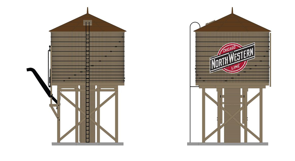 Broadway 6099 HO Operating Water Tower with Sound - Chicago & North Western (gray red black white Color Logo)