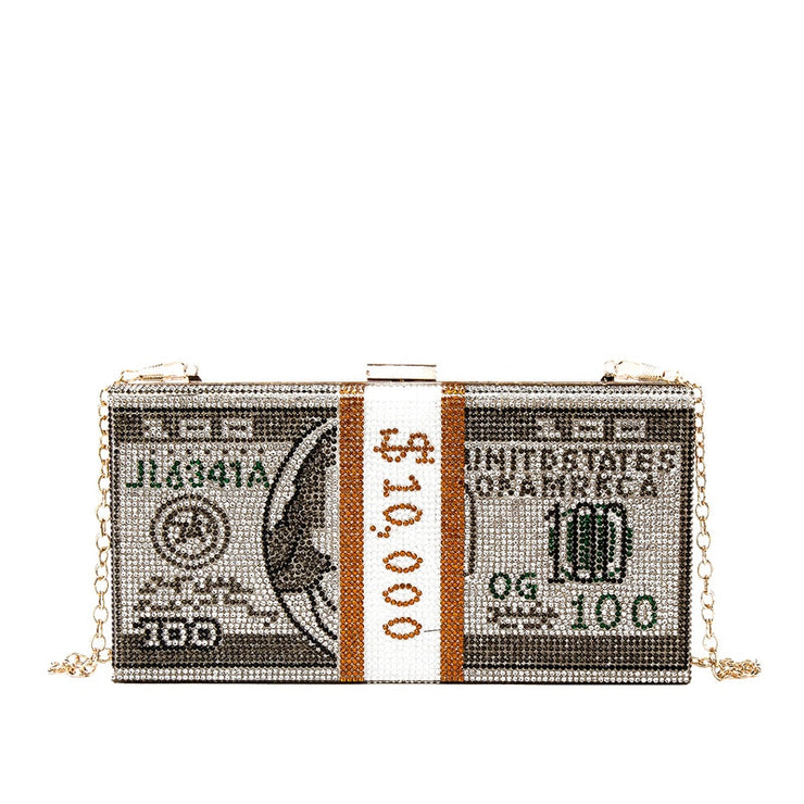 CRYSTAL MONEY CLUTCH BAGS