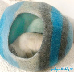 Blue Aurora Cat Cave House Bed