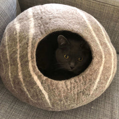 Gray Cat Cave Wool Felt House