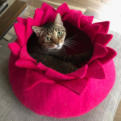 Pink Flower Cat Wool Bed
