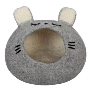 Handmade Wool Felted Cat Cave Sleepy Mouse Gray