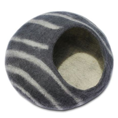 Handmade Wool Felted Cat Cave Stripes