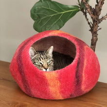 Load image into Gallery viewer, Wool Cat Cave Bed House red Bagsymine