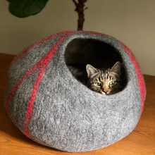 Load image into Gallery viewer, Wool Cat Cave Bed House Gray Bagsymine