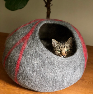 Wool Cat Cave Bed House Gray Bagsymine