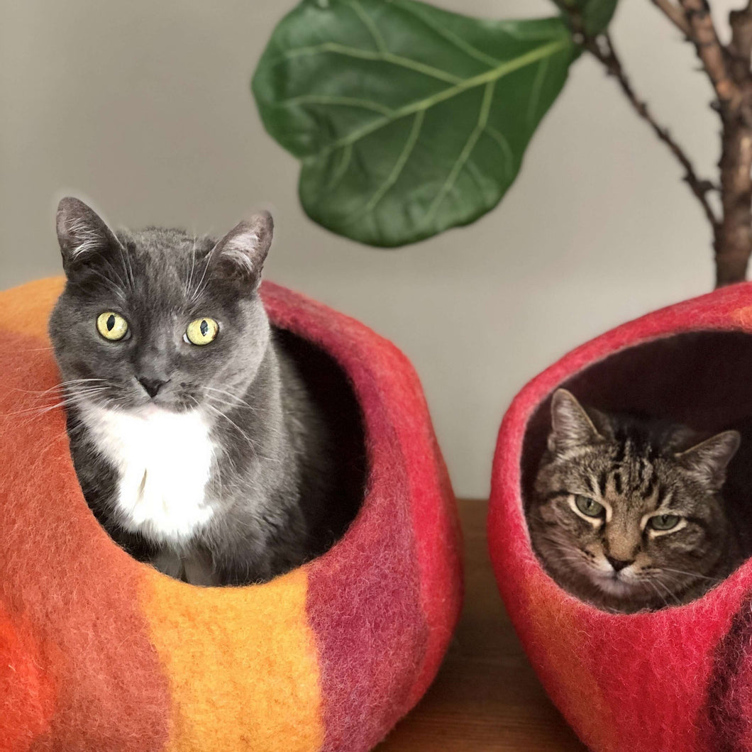 Wool Cat Cave Bed House red orange