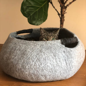 Large Wool Cat/Dog Basket - Gray
