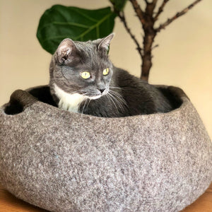 Large Wool Cat Basket | Cat Bed - Brown
