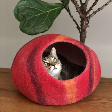 natural wool cat cave