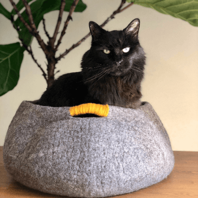 gray wool handmade cat bed