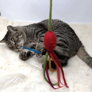 handmade wool cat teaser toy