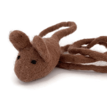 Load image into Gallery viewer, Brown mouse wool cat teaser