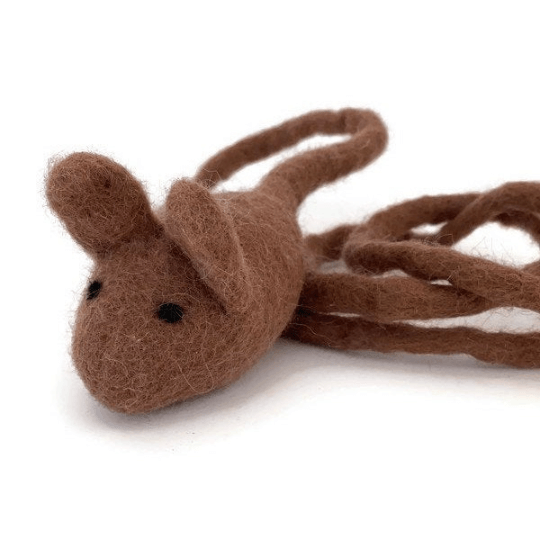 Brown mouse wool cat teaser
