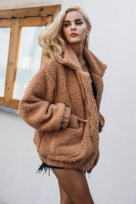 Faux Lambswool Oversized Jacket