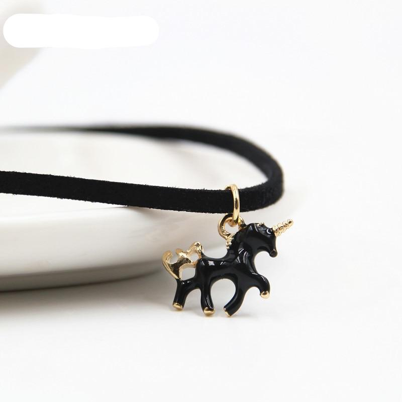 Leather Choker Unicorn Necklace