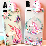 3D Unicorn FlowerSoft TPU Silicon Case For iPhone