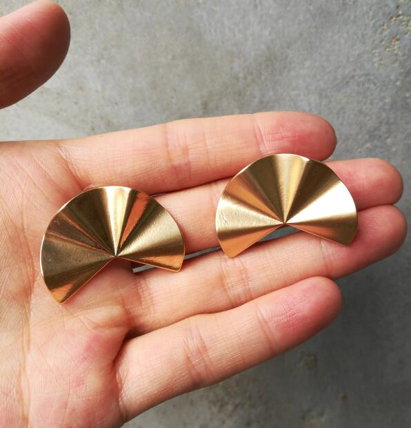 Gold Half Round Crease Stud Earrings