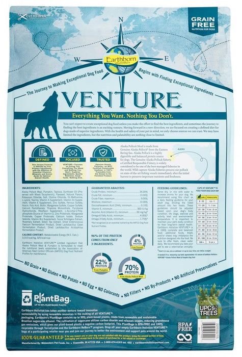 Earthborn Holistic Venture Grain Free Alaska Pollock Meal and Pumpkin Dry Dog Food