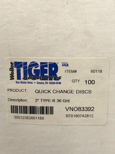 "WEILER 2"" 36GRIT QUICK CHANGE DISCS (100 PER BOX)"