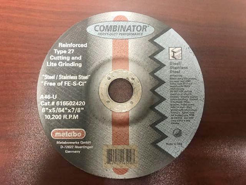 METABO 616502420- COMBO CUTOFF/GRINDING WHEEL 6 x 5/64 x 7/8