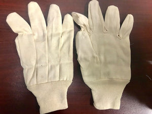 WHITE CANVAS KNIT WRIST 8OZ GLOVES USA  (12/pack)