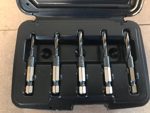 5PC DRILL & TAP SET 6-32 TO 1/4-20 1/4 DRIVE