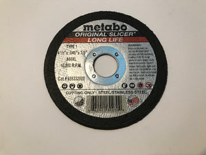 "METABO 4 1/2"" X .045"" X 7/8"", TYPE 1, A60XL LONGLIFE ORIGINAL SLICER CUTTING WHEEL (655332000) 100/BOX"