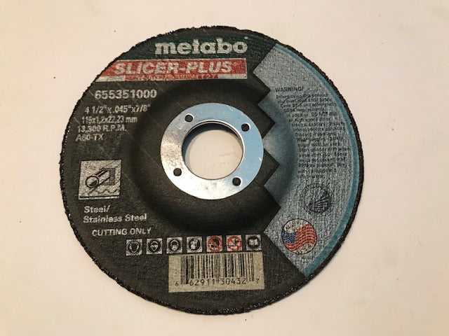 "METABO 4 1/2"" X .045"" X 7/8"", TYPE 27, A60TX SLICER PLUS (655351000) 50/BOX"